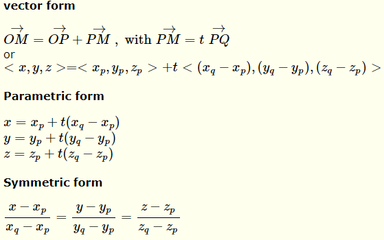 equations of Line through two points