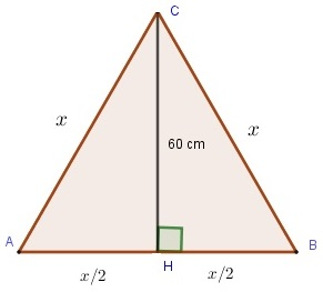 equilateral triangle for problem 5 solved by the Pythagorean theorem