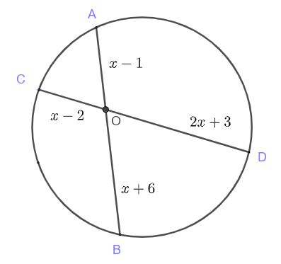 intersecting chords theorem question 4