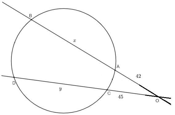 intersecting secant theorem question 4