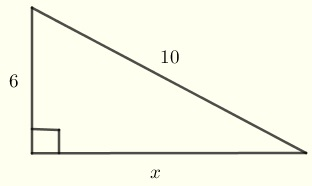 right triangle for problem 1 solved using Pythagorean theorem