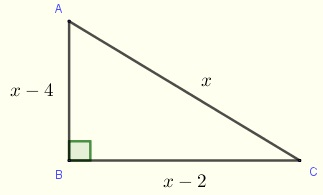 right triangle for problem 4 solved by the Pythagorean theorem