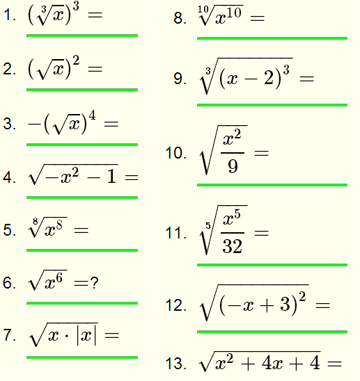 Printables 11th Grade Math Worksheets radical expressions questions with solutions for grade 10 equation 8