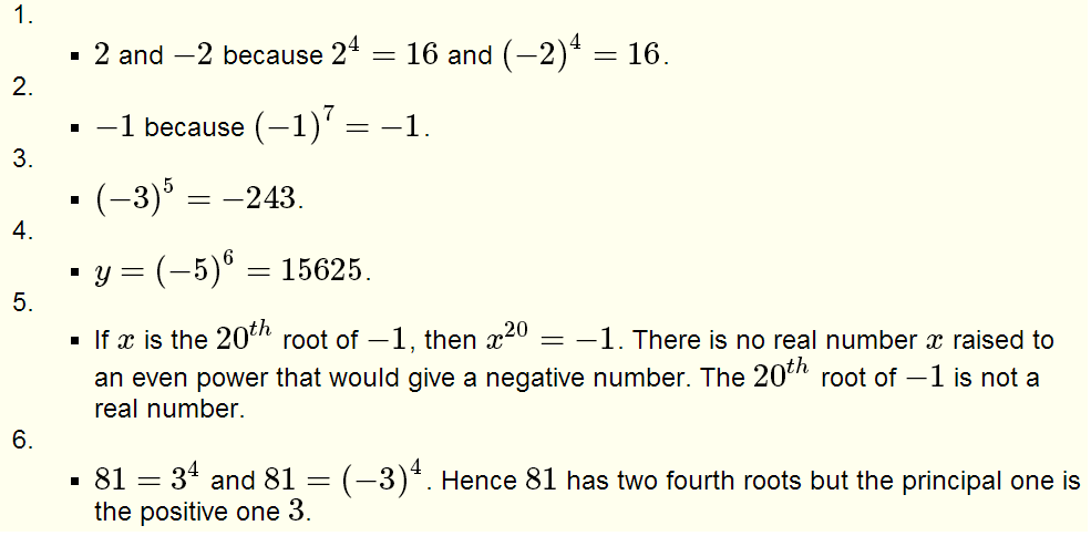 Roots of Real Numbers and Radicals - Questions with Solutions for