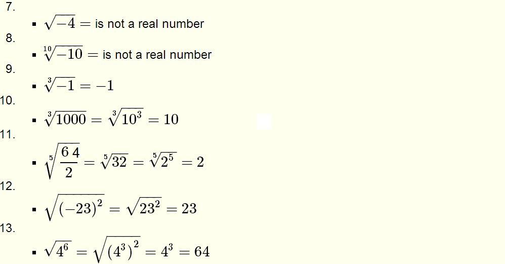 Roots of Real Numbers and Radicals - Questions with Solutions for ...