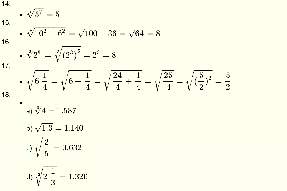 Roots of Real Numbers and Radicals - Questions with