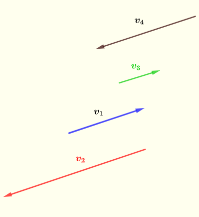 two parallel and therefore dependent vectors